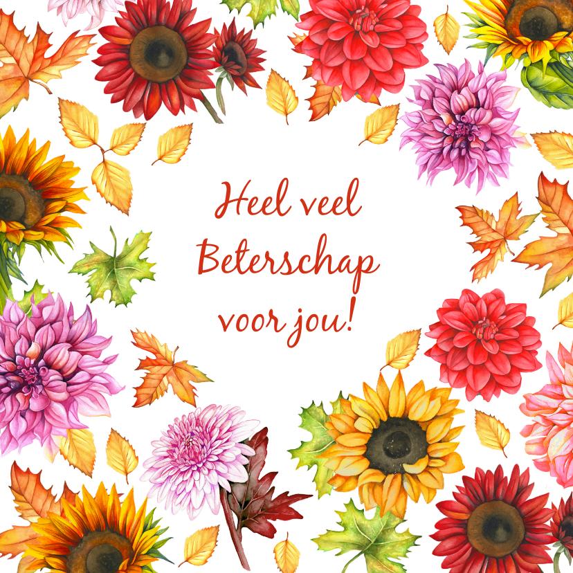 Beterschapskaarten - Beterschap herfstbloemen