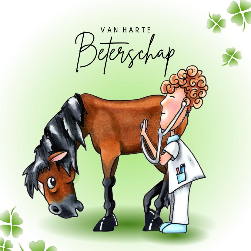 Beterschapskaarten - Beterschap kaarten Paard met dokter