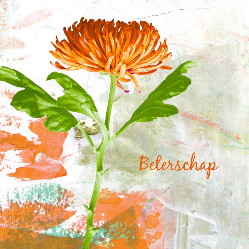 Beterschapskaarten - Beterschap oranje chrysant