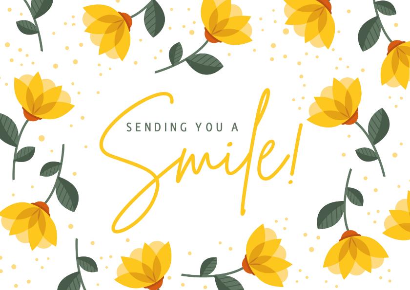 Beterschapskaarten - Beterschap sending you a smile met vrolijke gele bloemen
