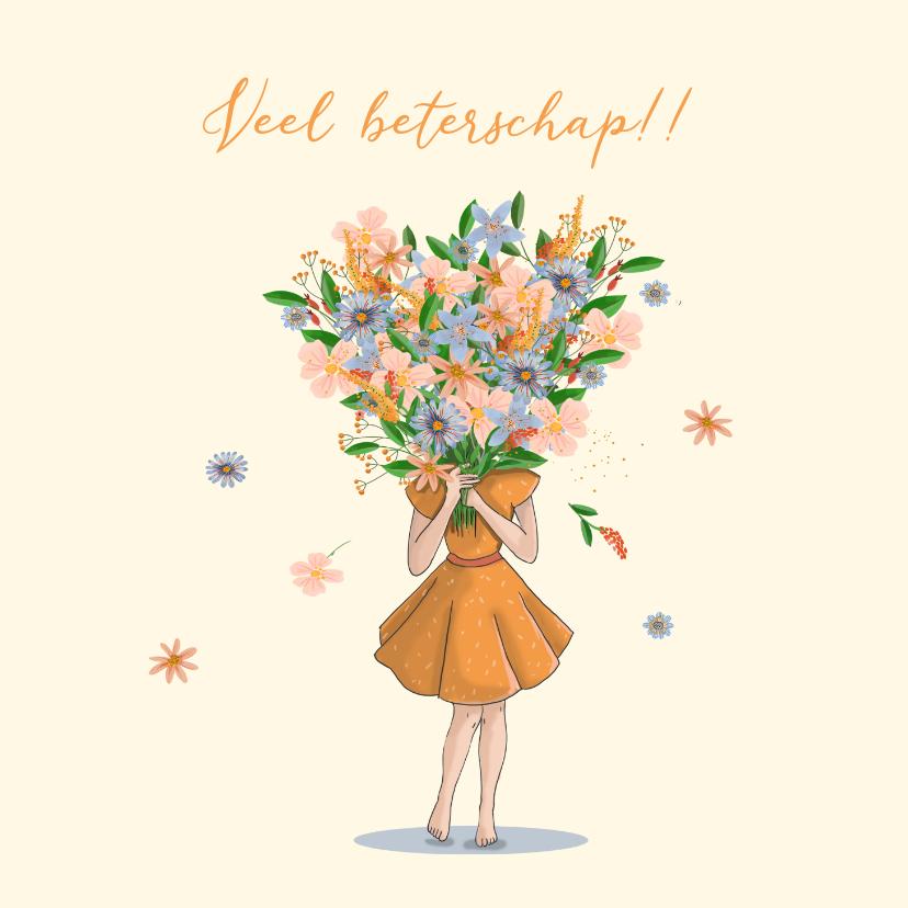 Beterschapskaarten - Beterschapkaart meisje met bos bloemen