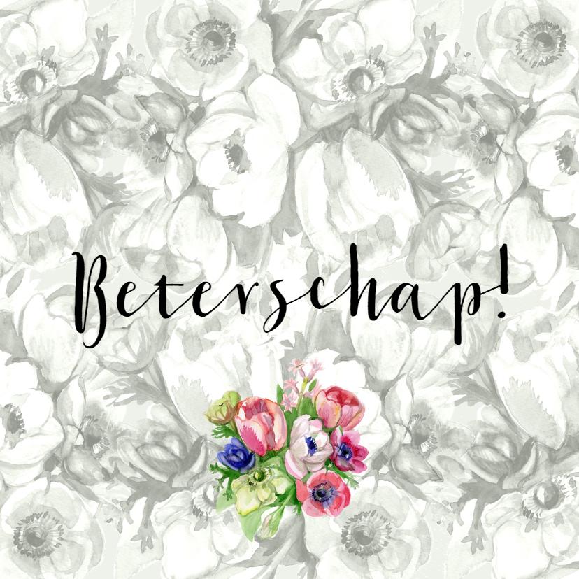 Beterschapskaarten - Beterschapkaart met grijs bloemenachtergrond