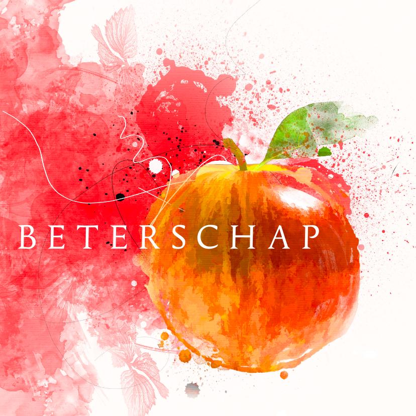 Beterschapskaarten - Beterschapskaart aquarelverf appel