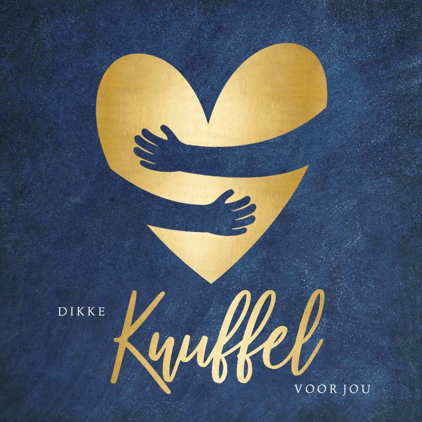 Beterschapskaarten - Beterschapskaart blauwe kaart met gouden hart knuffel