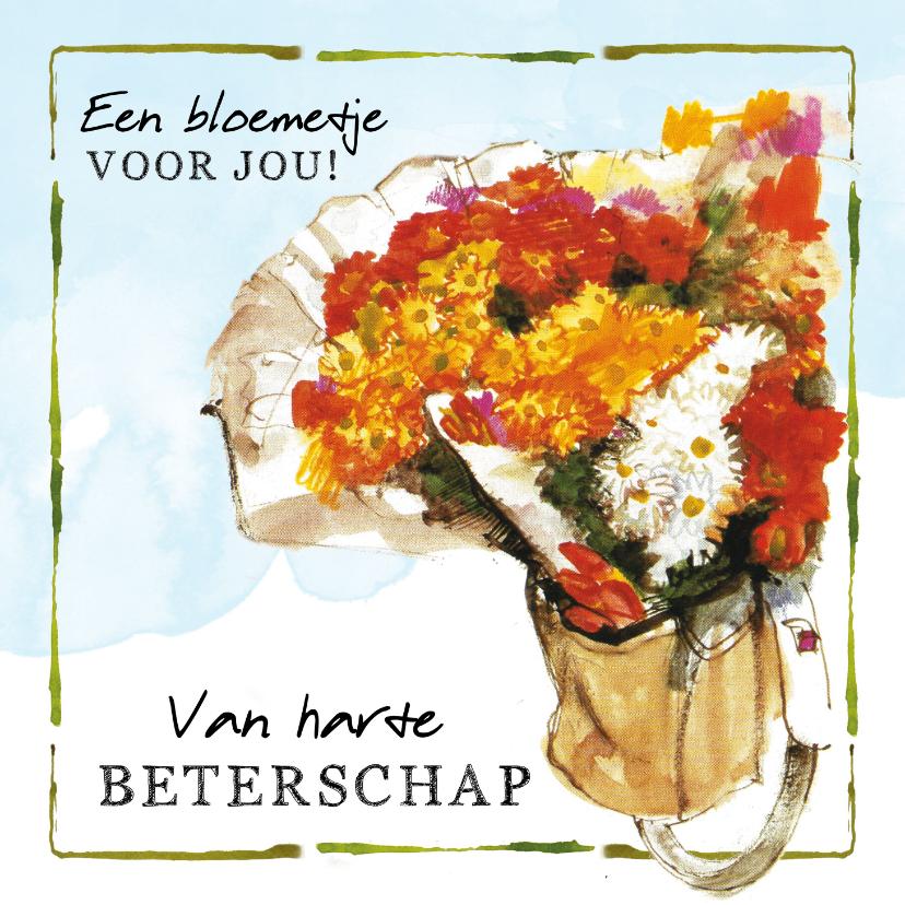 Beterschapskaarten - Beterschapskaart Bloemen in een fietstas