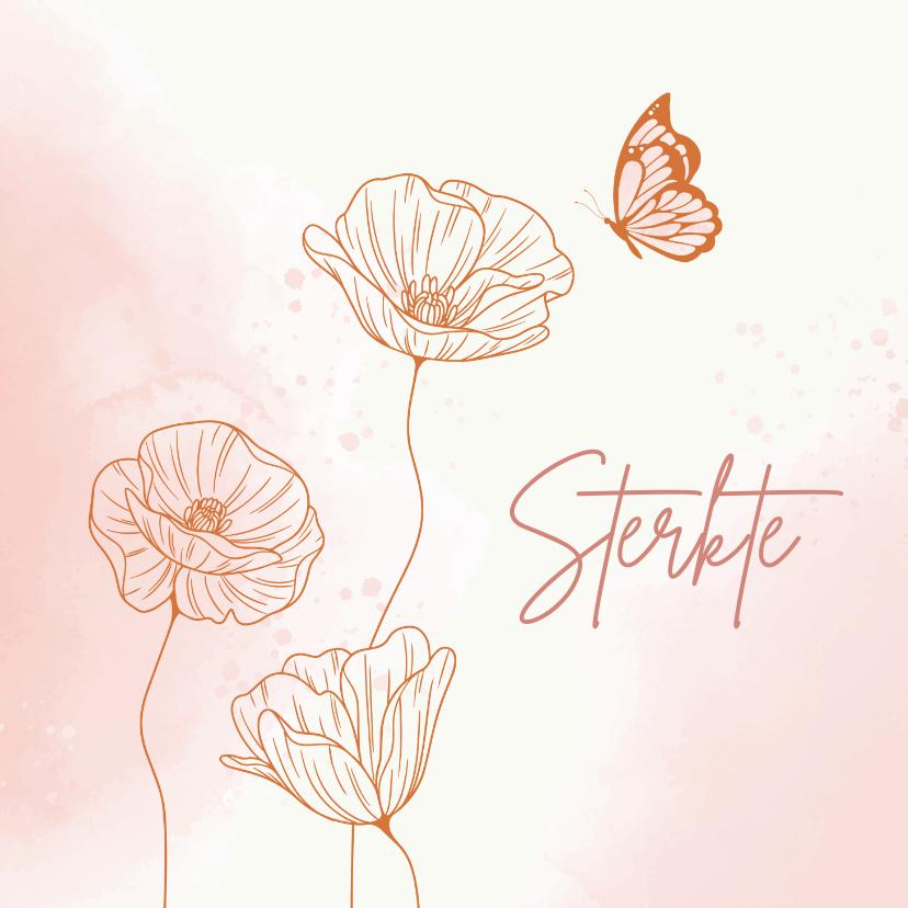 Beterschapskaarten - Beterschapskaart - Bloemen met vlinder in roze