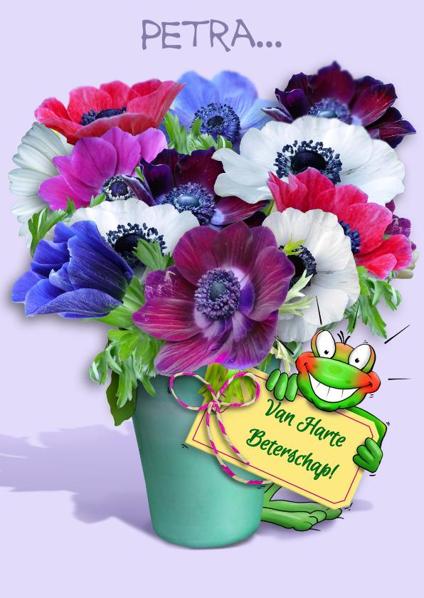 Beterschapskaarten - Beterschapskaart bloemenvaas met opkikkertje