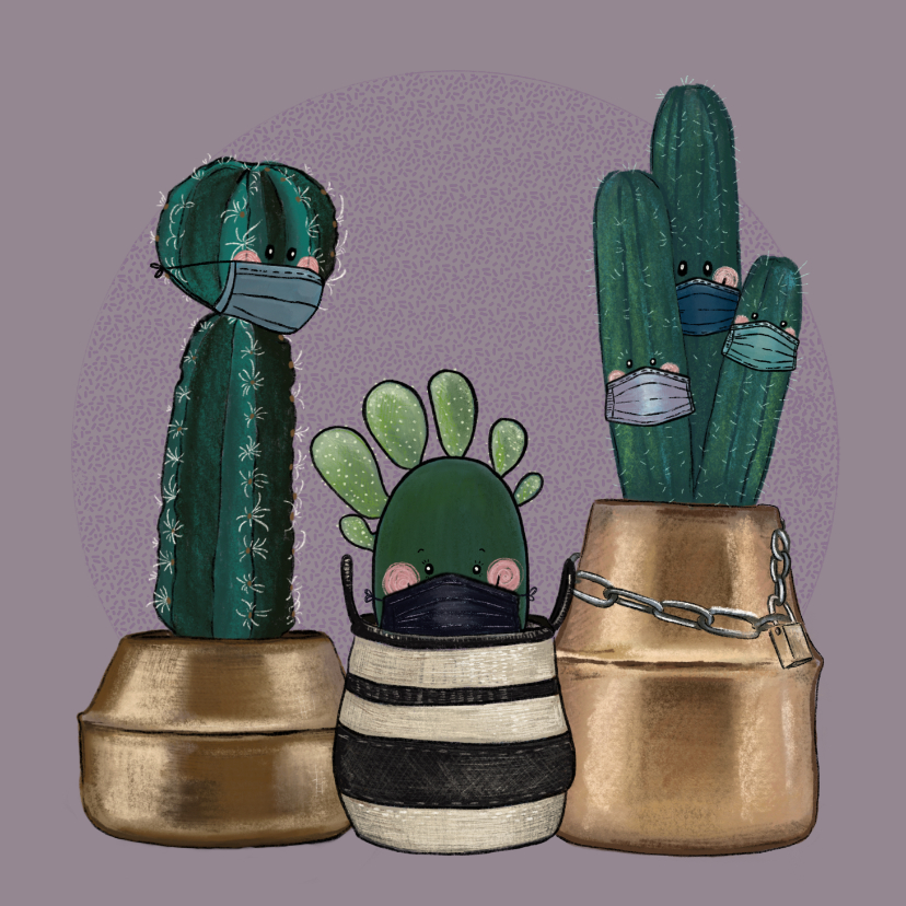 Beterschapskaarten - Beterschapskaart cactussen met mondkapjes in quarantaine