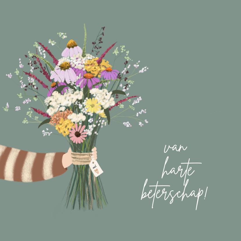 Beterschapskaarten - Beterschapskaart fleurige bos bloemen