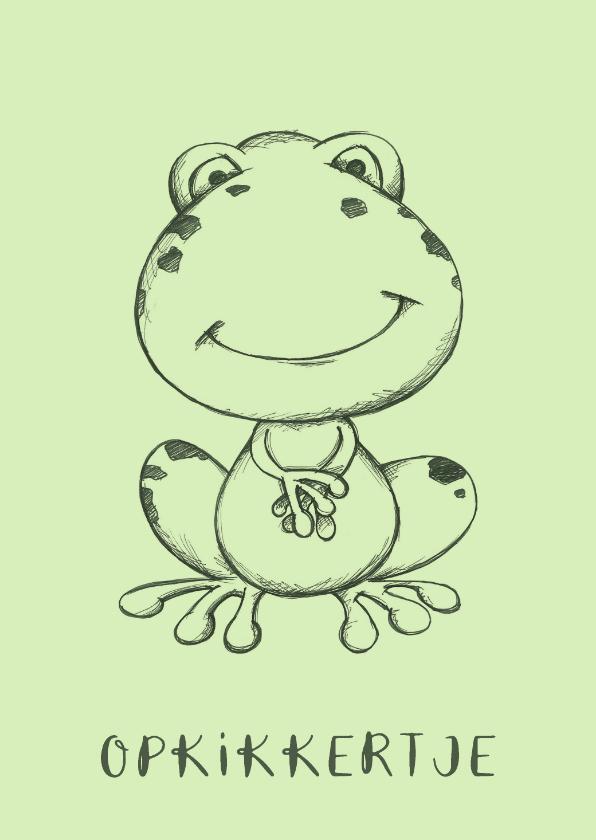 Beterschapskaarten - Beterschapskaart groen met getekende kikker