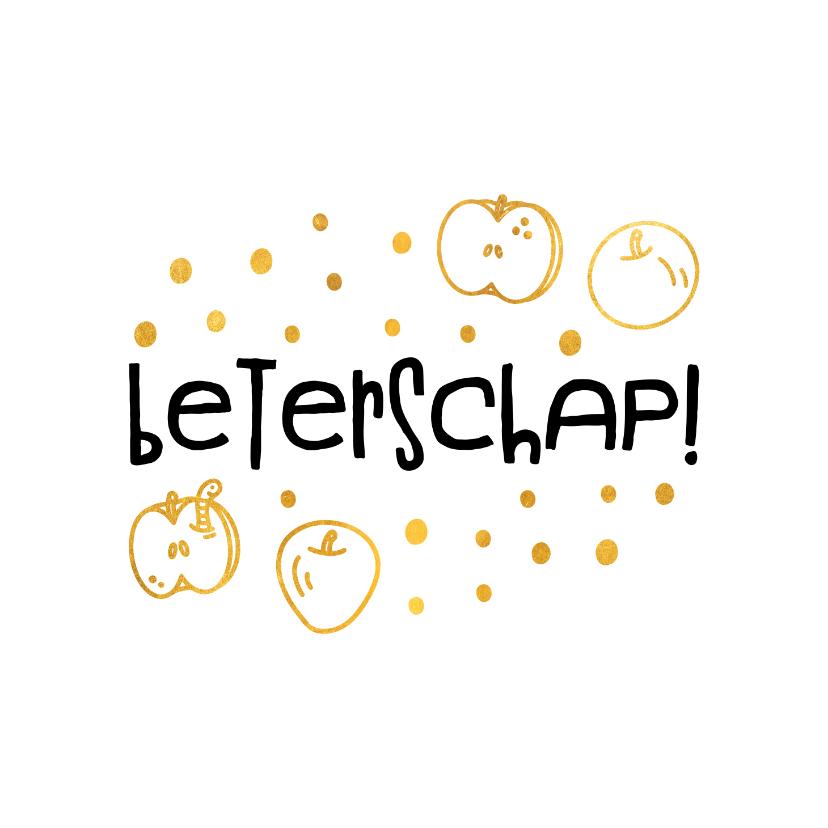 Beterschapskaarten - Beterschapskaart hip met gouden appels en confetti