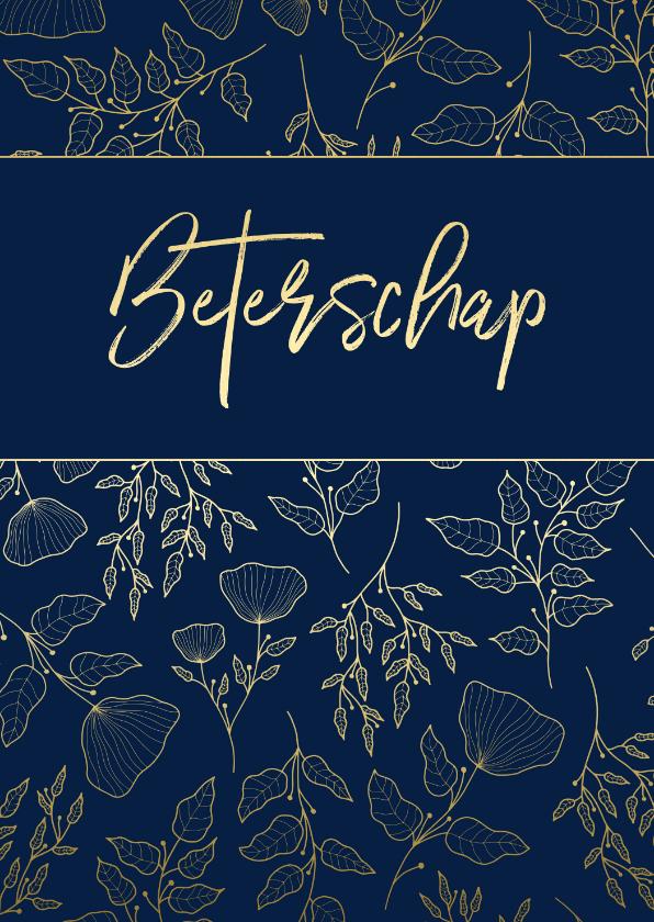 Beterschapskaarten - Beterschapskaart klassiek donkerblauw met gouden bloemen