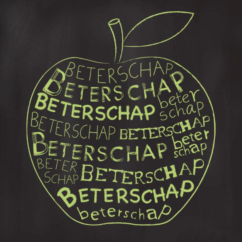 Beterschapskaarten - Beterschapskaart krijtbord appel
