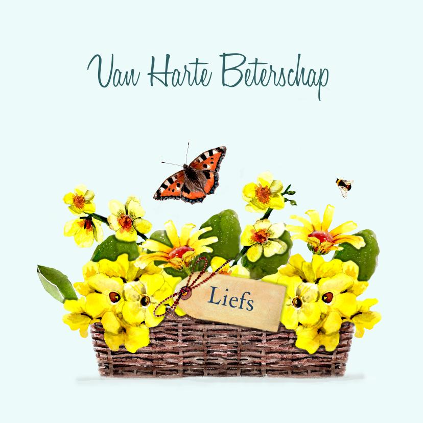 Beterschapskaarten - Beterschapskaart Mand met gele bloemen