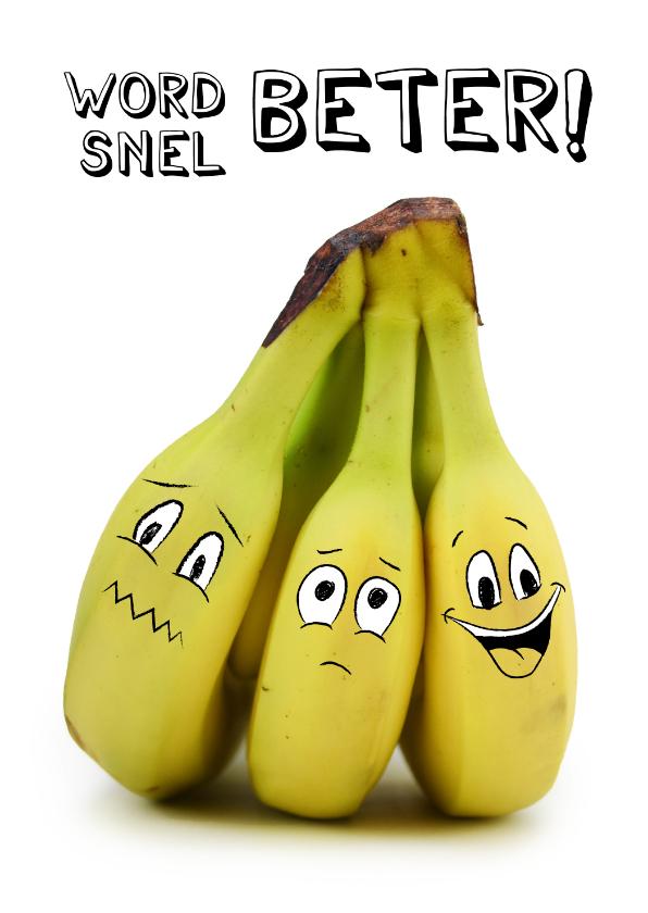 Beterschapskaarten - Beterschapskaart met bananen met gezichtjes