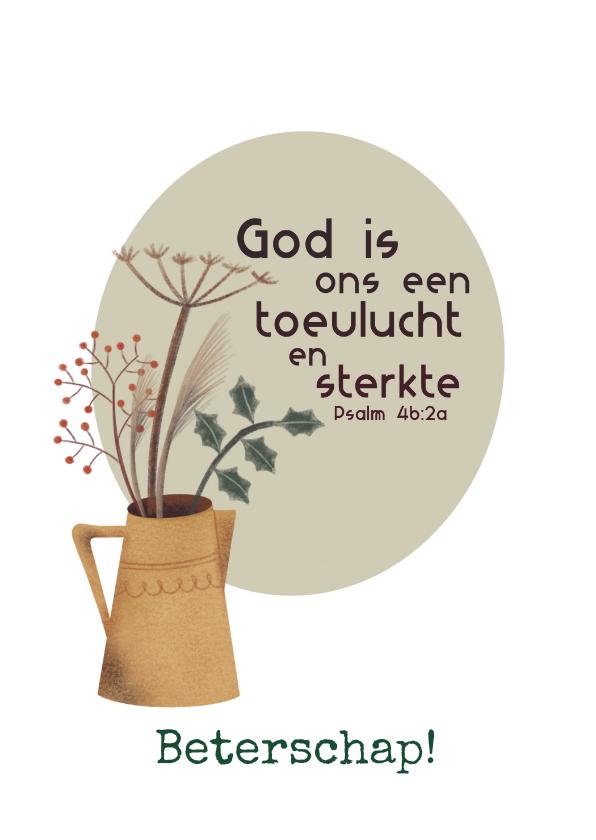 Beterschapskaarten - Beterschapskaart met bijbeltekst en droogbloemen