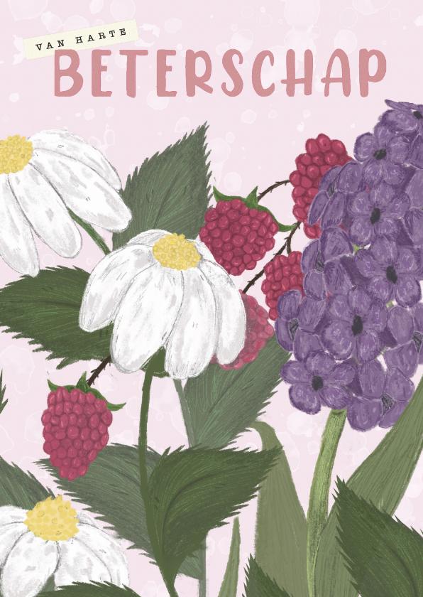 Beterschapskaarten - Beterschapskaart met bloemen en roze tinten