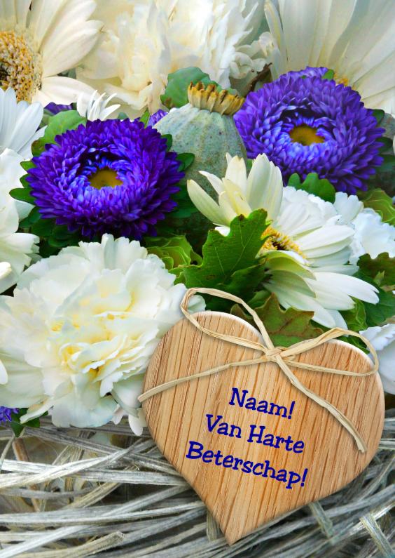 Beterschapskaarten - Beterschapskaart met bloemen op vlechtwerk en hart