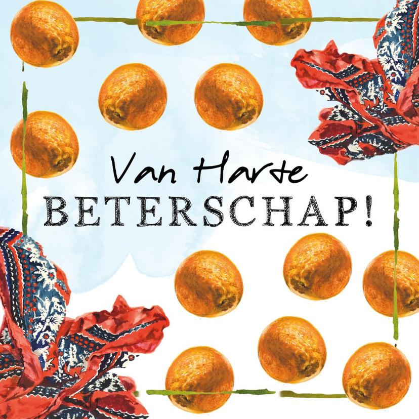 Beterschapskaarten - Beterschapskaart met boeren zakdoek en sinaasappels