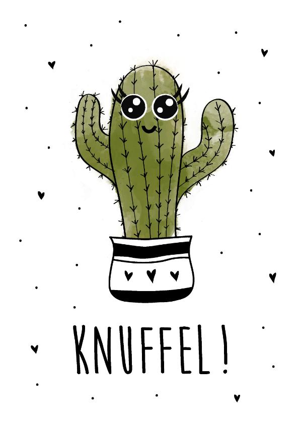 Beterschapskaarten - Beterschapskaart met een stekelige cactus met tekst knuffel!