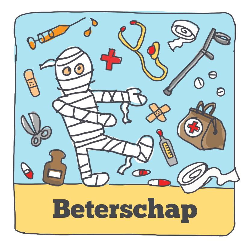 Beterschapskaarten - Beterschapskaart met figuurtje in verband en doktersspullen