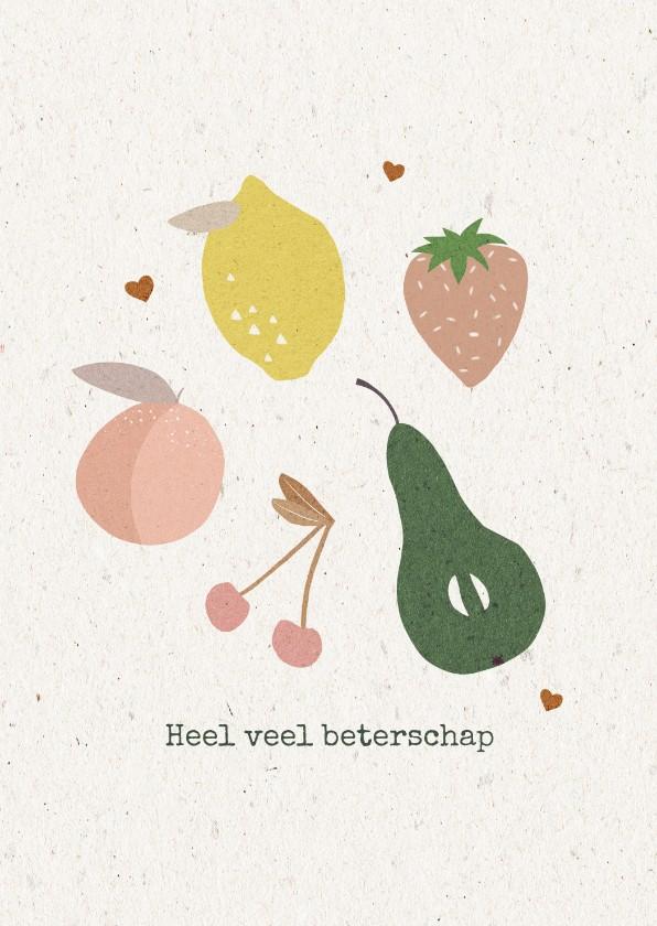 Beterschapskaarten - Beterschapskaart met fruit en kleine hartjes op karton