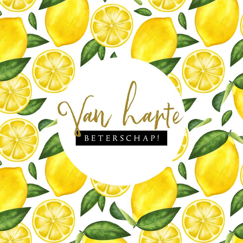 Beterschapskaarten - Beterschapskaart met geïllustreerd citroenen patroon