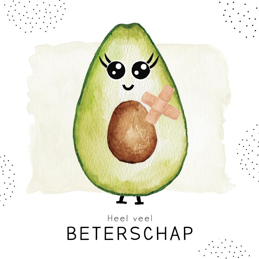 Beterschapskaarten - Beterschapskaart met gezonde avocado met pleisters
