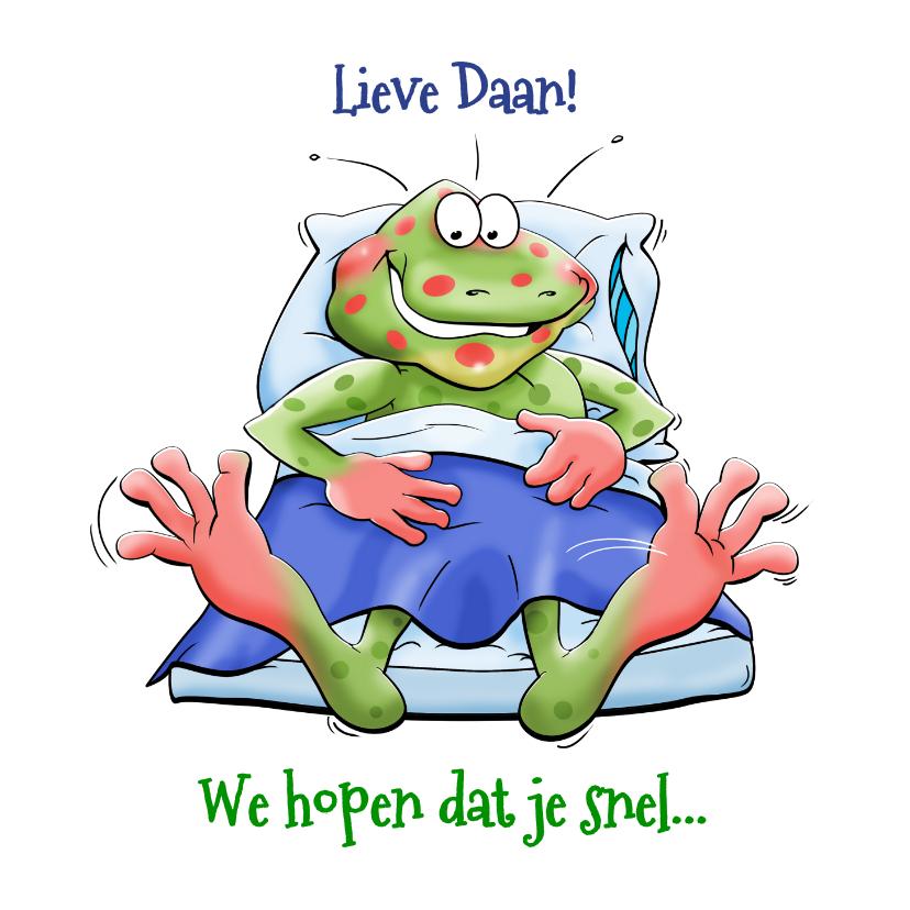 Beterschapskaarten - Beterschapskaart met kikker in bed. Snel weer de oude