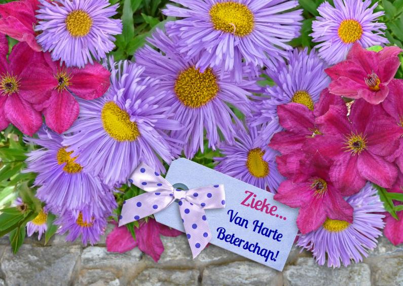Beterschapskaarten - Beterschapskaart met lila bloemen en label met tekst