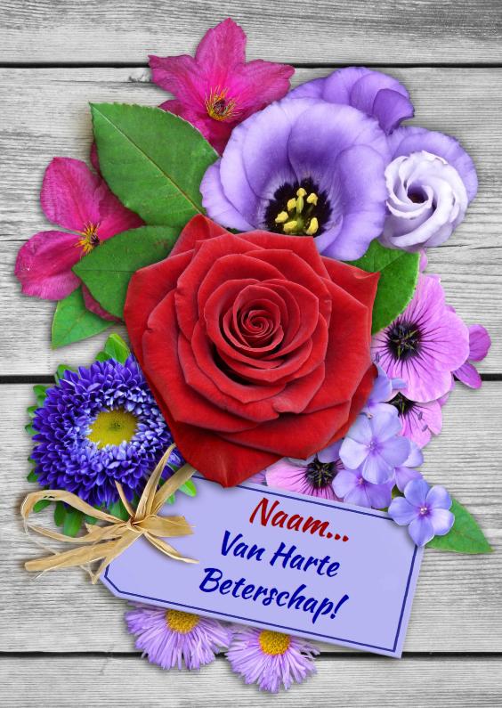 Beterschapskaarten - Beterschapskaart met roos en diverse bloemen op steigerhout