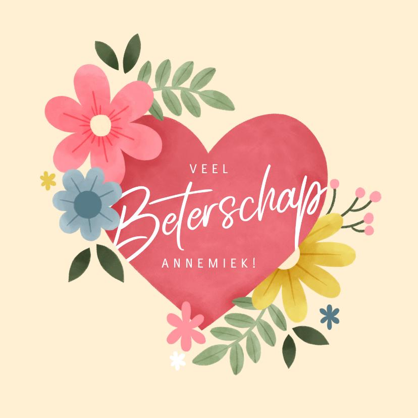 Beterschapskaarten - Beterschapskaart met roze hart, planten en bloemen