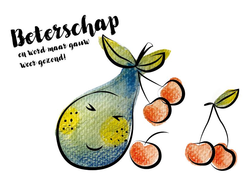 Beterschapskaarten - Beterschapskaart met toffe peer en kersen