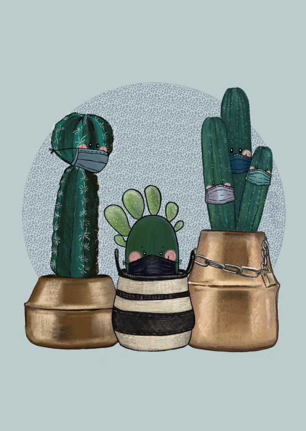 Beterschapskaarten - Beterschapskaart quarantaine cactussen met mondkapjes op