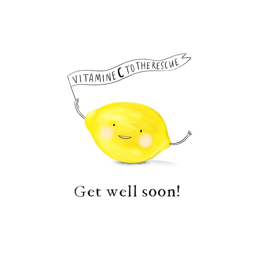 Beterschapskaarten - Beterschapskaart 'Vitamine C to the rescue' met citroen