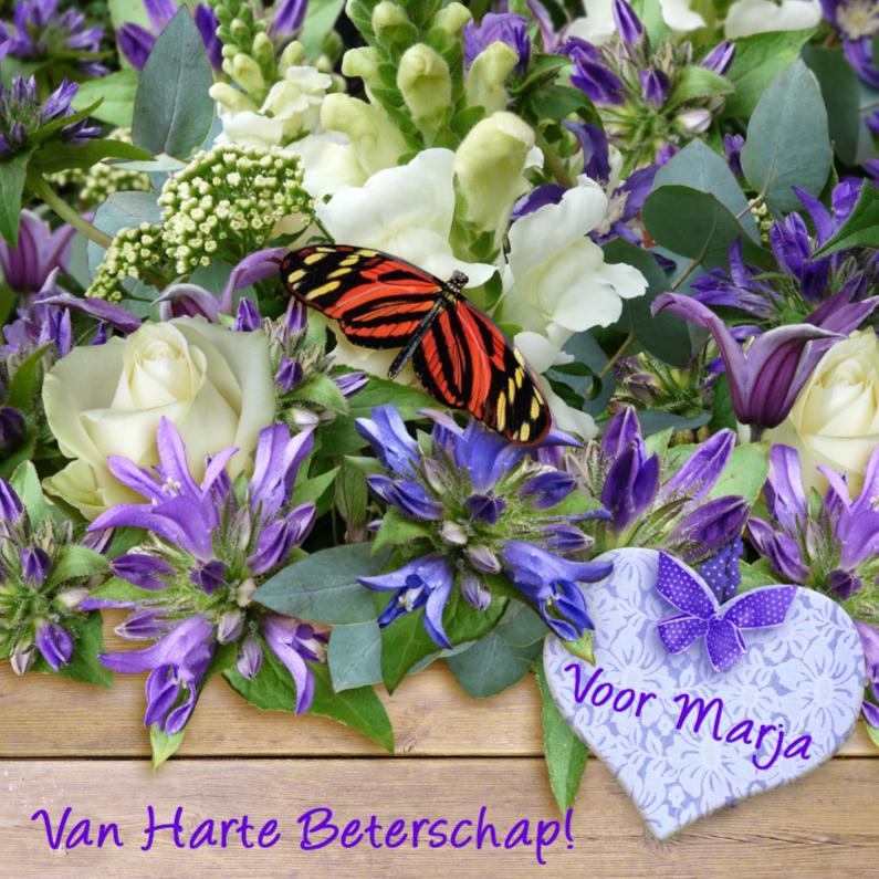 Beterschapskaarten - Beterschapskaart,  vlinder en bloemen op steigerhout