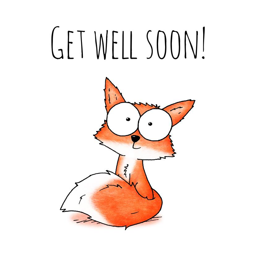 Beterschapskaarten - Beterschapskaart vosje - Get well soon