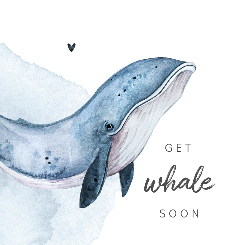 Beterschapskaarten - Beterschapskaart whale walvis waterverf