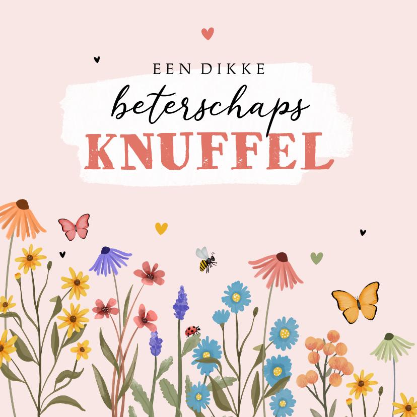 Beterschapskaarten - Beterschapskaart wilde bloemen kleurrijk hartjes