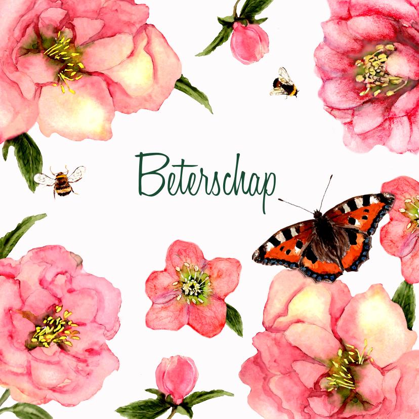 Beterschapskaarten - Beterschapskaart Zachte bloemen met vlinder