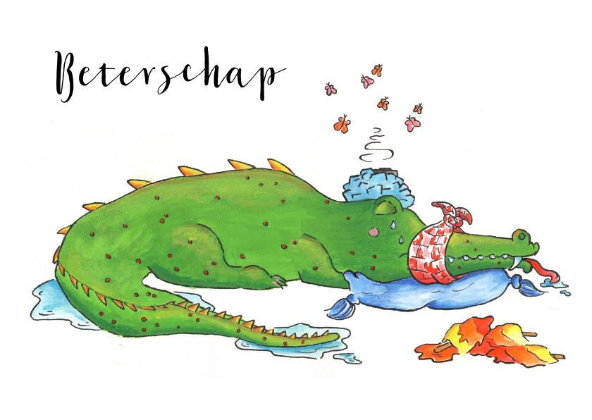 Beterschapskaarten - Beterschapskaart zieke zielige krokodil