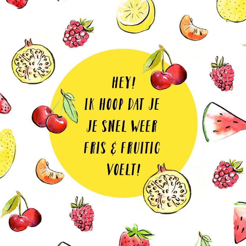 Beterschapskaarten - Beterschapskaart zonnig fruit