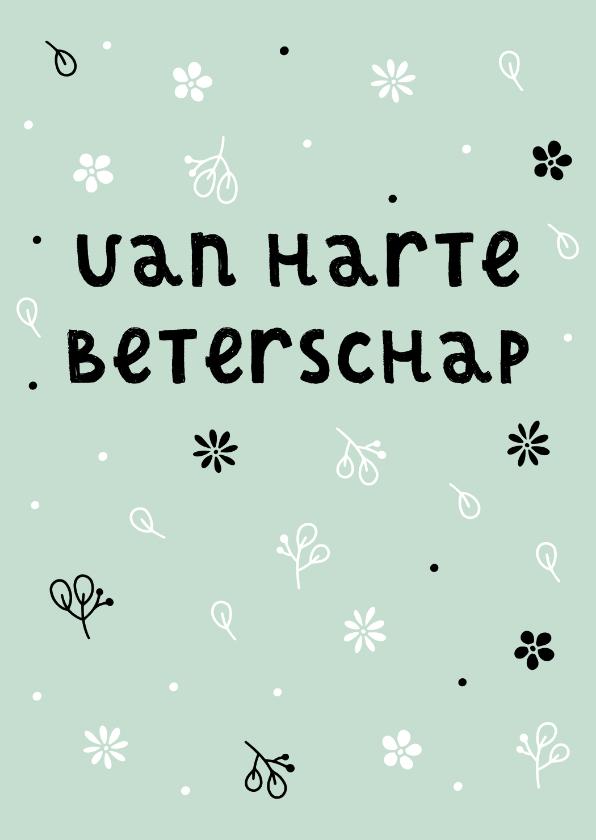 Beterschapskaarten - Beterschapskaart zwart witte bloemen aanpasbare kleur