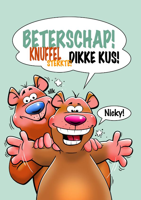 Beterschapskaarten - Een grappige beterschapskaart met twee beren en knuffel