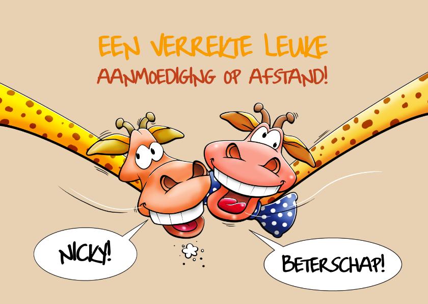 Beterschapskaarten - Een verrekte grappige beterschapskaart met twee giraffen