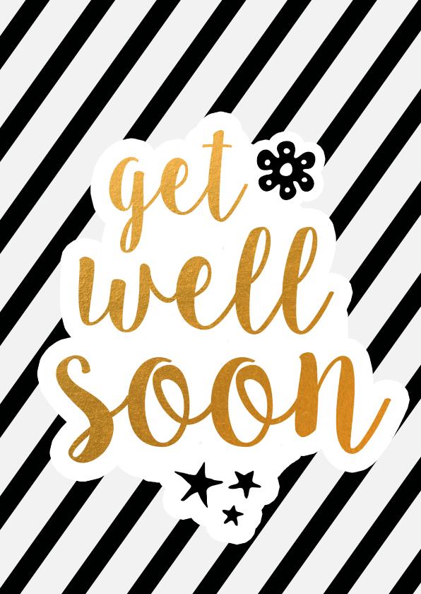 Beterschapskaarten - Get well soon - black/gold