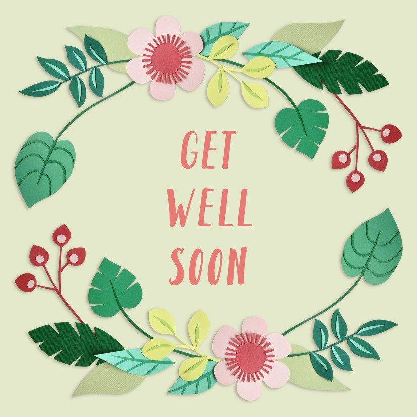 Beterschapskaarten - Get well soon bloemenrand