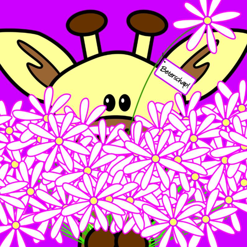 Beterschapskaarten - Giraf met grote bos bloemen