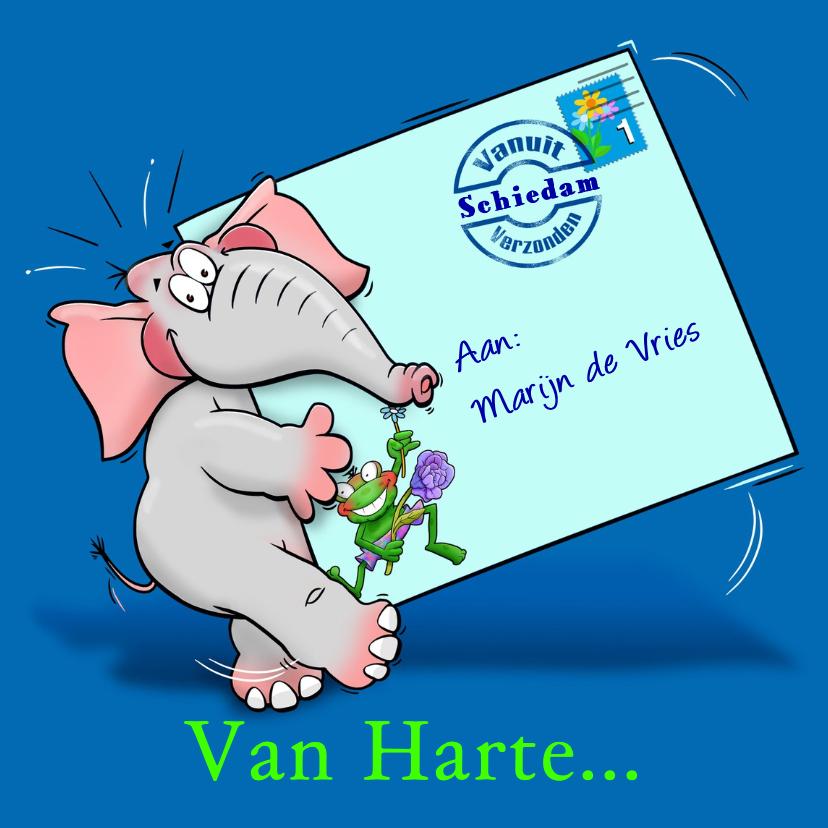 Beterschapskaarten - Grappige beterschapskaart olifant met brief