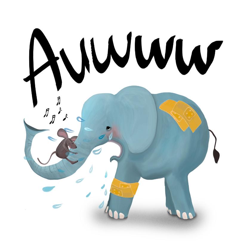 Beterschapskaarten - Kaart met huilende olifant met pleister op z'n billen!